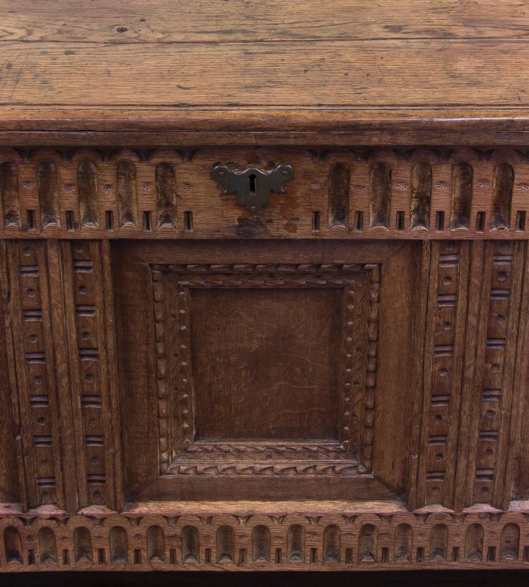 Mid-18th Century Oak Coffer Chest with Three-Panel Decorative Front For Sale 2