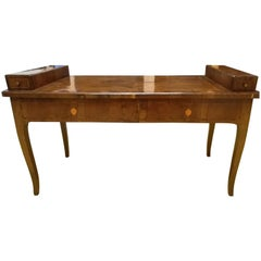Mid-18th Century Olive Root Wood Antique Italian Desk with Drawings