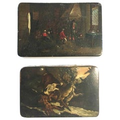 Mid-18th Century Pair of Lacquered Wood Boxes with Landscapes and Hunting Scenes