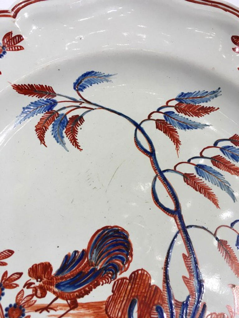 Mid-18th Century Richard Ginori Doccia Porcelain Dish with Red Cock For Sale 8