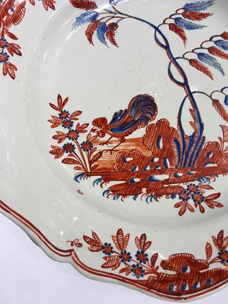 Mid-18th Century Richard Ginori Doccia Porcelain Dish with Red Cock For Sale 10