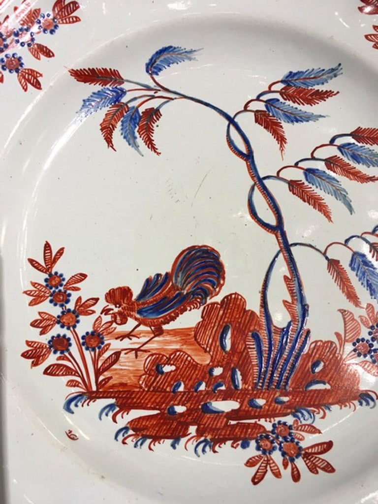 Hand-Crafted Mid-18th Century Richard Ginori Doccia Porcelain Dish with Red Cock For Sale