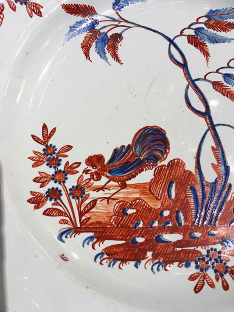 Mid-18th Century Richard Ginori Doccia Porcelain Dish with Red Cock For Sale 1