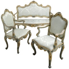 Mid-18th Century Rococo Canapé and Open Armchairs