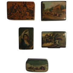 Mid-18th Century Set of Five Wood Lacquered Boxes with Landscape Scenes