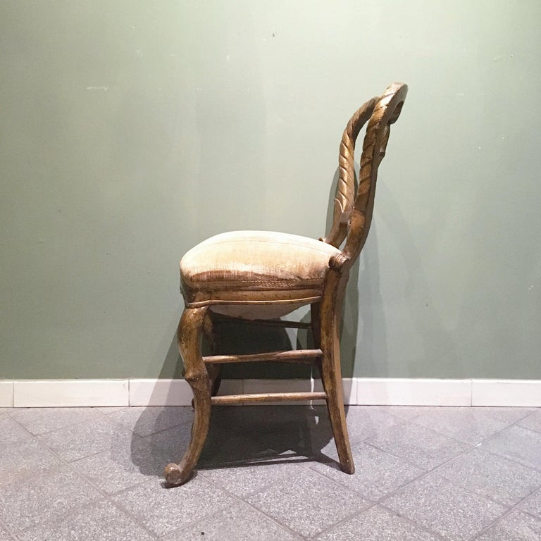 Mid-18th Century Set of Four Italian Upholstered Giltwood Chairs For Sale 2