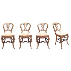 Mid-18th Century Set of Four Italian Upholstered Giltwood Chairs