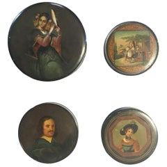 Mid-18th Century Set of Four Lacquered Wood Boxes with Portraits