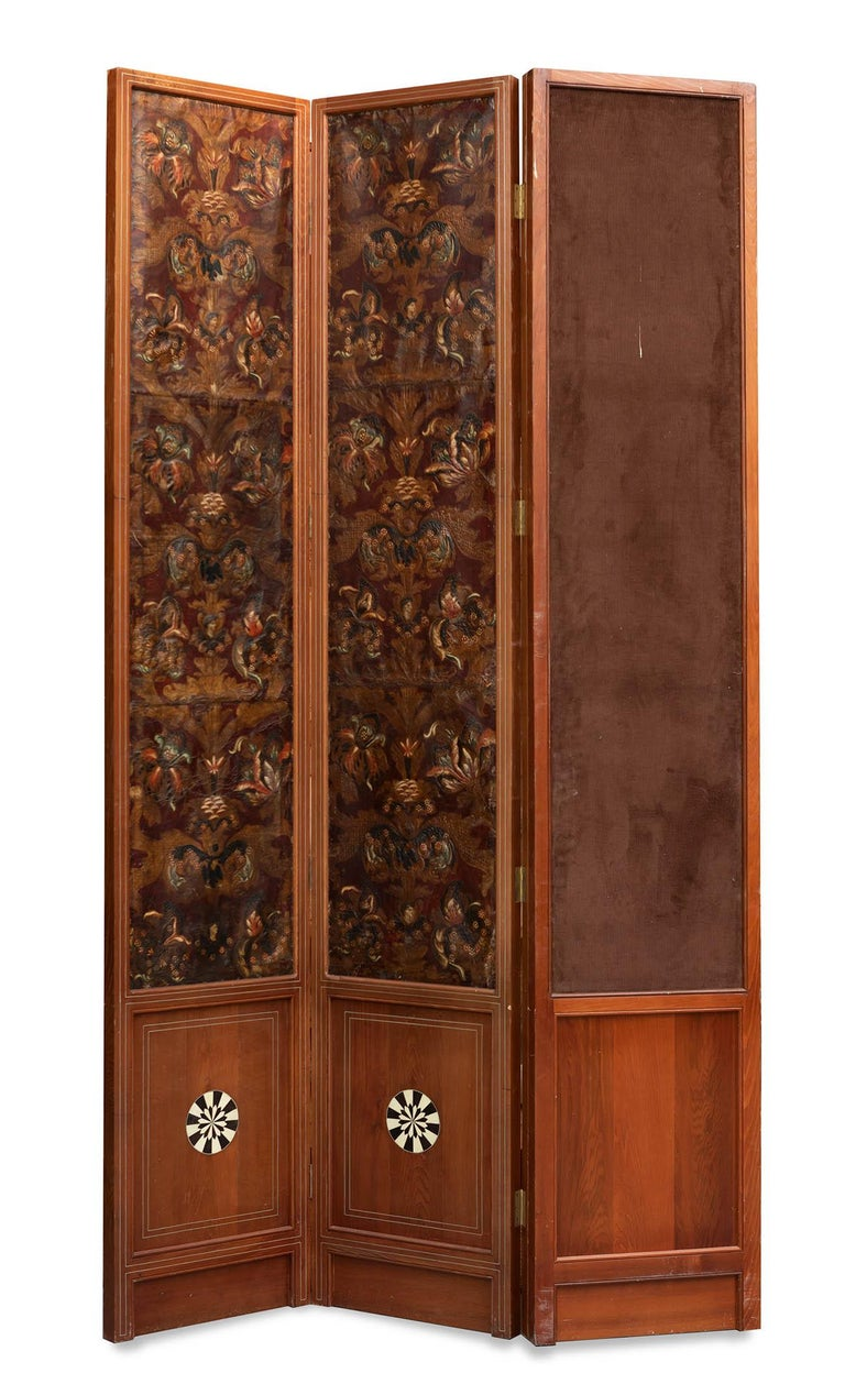 18th Century and Earlier Mid-18th Century Spanish Set of Two 4-Panel Embossed Leather Folding Screens For Sale