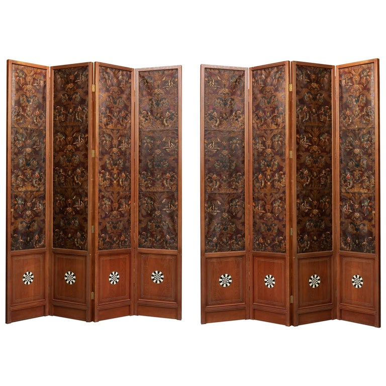 Mid-18th Century Spanish Set of Two 4-Panel Embossed Leather Folding Screens For Sale