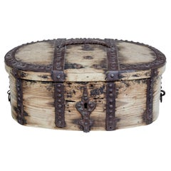 Mid 18th Century Swedish Pine Baroque Metal Bound Box