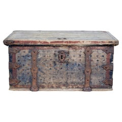 Mid 18th Century Swedish Pine Chest Decorated with Labyrinth