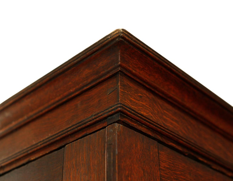 A stunning armoire with clean simple lines and masculine, handsome proportions. The coloring is particularly fine with a deep amber hue. The case sits on bun feet with concealed castors. A simple Covetto cornice crowns the top with fine incised