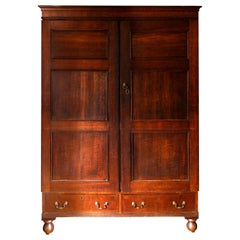 Mid-18th Century Tiger Oak Livery Armoire