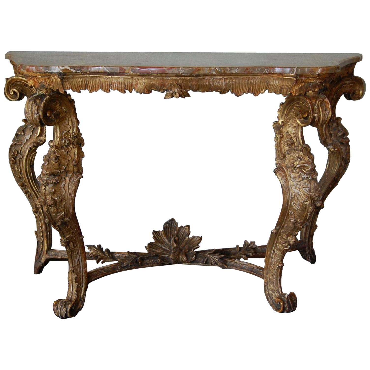 Mid-18th Century Venetian Carved Gilt Rococo Console Table with Marble Top