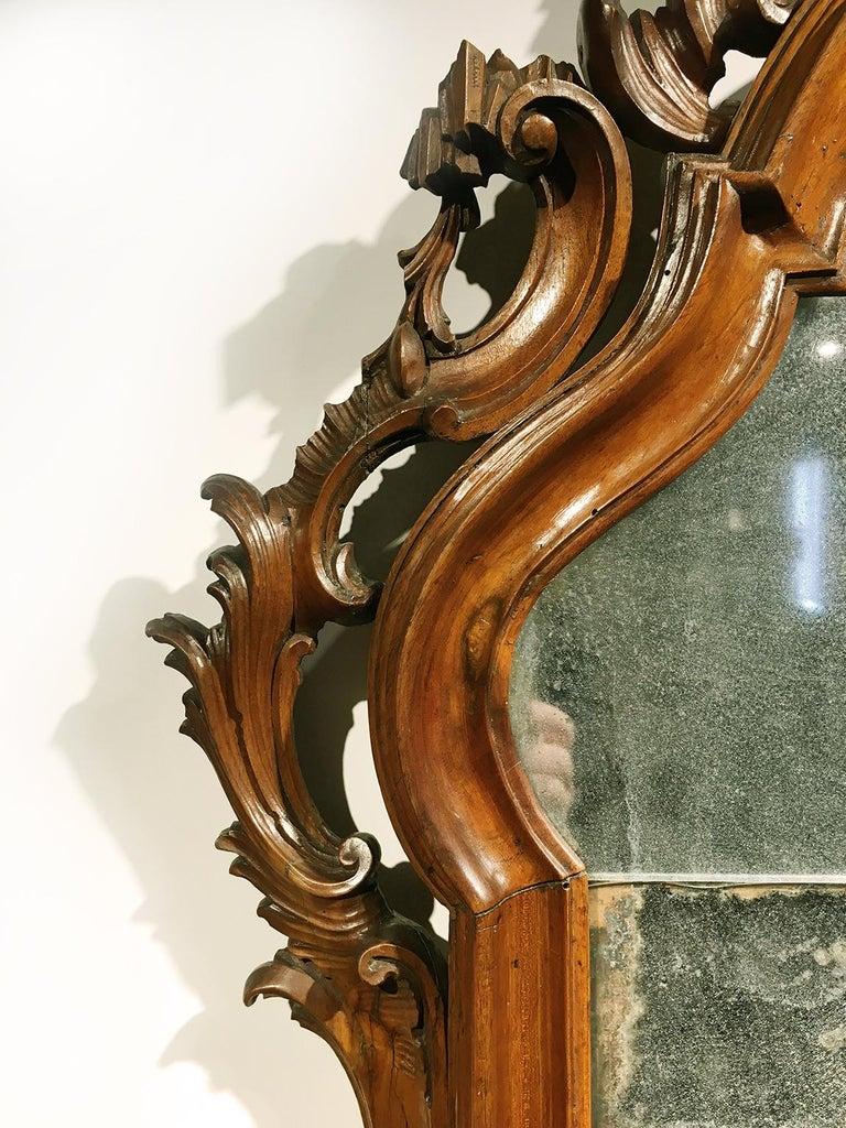 Mid-18th Century Venice Walnut Mirror, circa 1750 For Sale 6