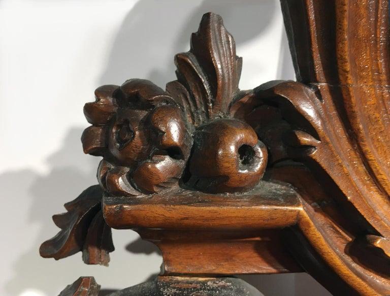 Carved Mid-18th Century Venice Walnut Mirror, circa 1750 For Sale