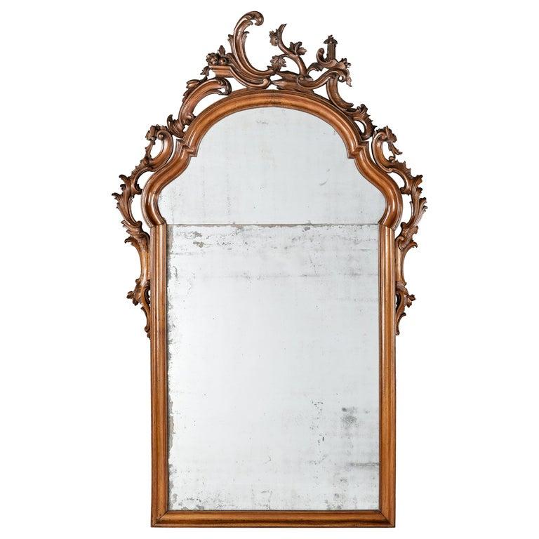 Mid-18th Century Venice Walnut Mirror, circa 1750 For Sale