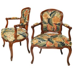 "Mid-18th Century Italian Pair of Armchairs in ""Petit Point"" Embroidery, Turin"