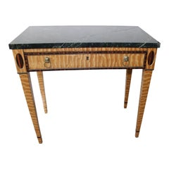 Mid-19 Century American Side Table in Ribbon Satinwood and Marble