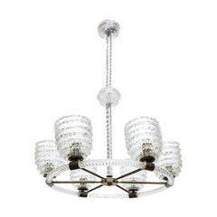 Mid-1940s Elegant Classic Chandelier in Clear Blown Glass by Barovier & Toso