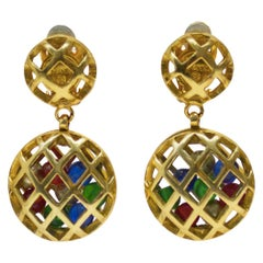 Mid 1970's-80's Chanel Earrings with Hanging Caged Multicolored Beads