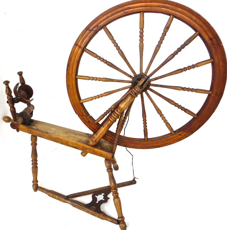 Forged Mid-19th Century American Spinning Wheel For Sale