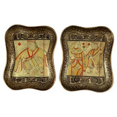 English Lacquer Papier-Mâché King & Queen Card Counter Trays, Pair