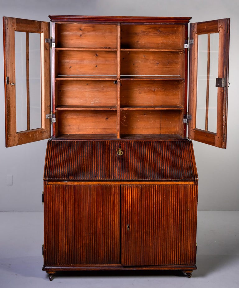 Mid-19th Century English Reeded Secretary Cabinet In Good Condition For Sale In Troy, MI