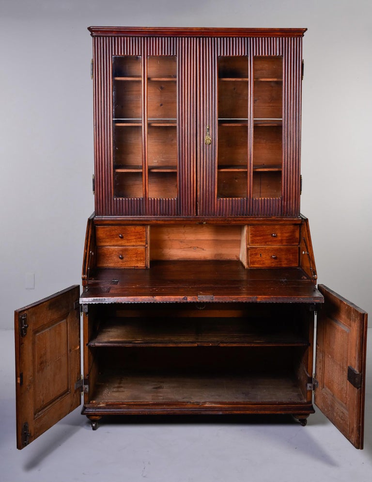 Glass Mid-19th Century English Reeded Secretary Cabinet For Sale