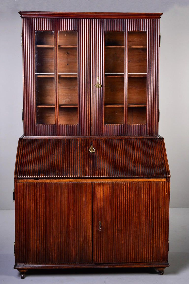 Mid-19th Century English Reeded Secretary Cabinet For Sale 2