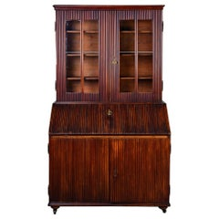 Mid-19th Century English Reeded Secretary Cabinet