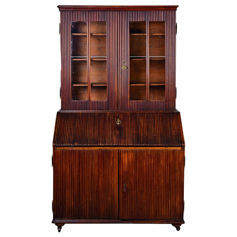 Mid-19th Century English Reeded Secretary Cabinet For Sale