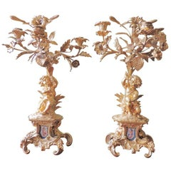 Mid 19th C French Sèvres and Bronze Doré Candelabras