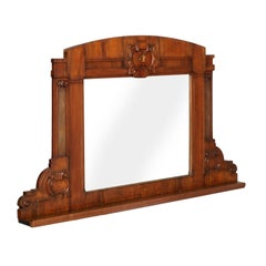 Mid-19th Century Neoclassic Wall Mirror or Fireplace, Hand-Carved Walnut