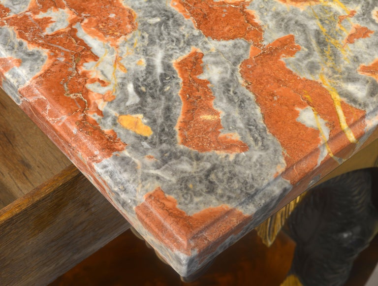 Mid-19th Century English Carved and Parcel Gilt Marble Top Dolphin Console Table For Sale 5