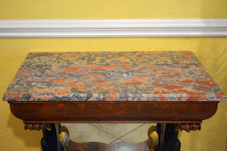 Early Victorian Mid-19th Century English Carved and Parcel Gilt Marble Top Dolphin Console Table For Sale