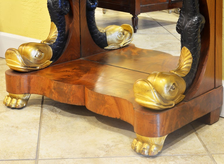 Mid-19th Century English Carved and Parcel Gilt Marble Top Dolphin Console Table In Good Condition For Sale In Ft. Lauderdale, FL