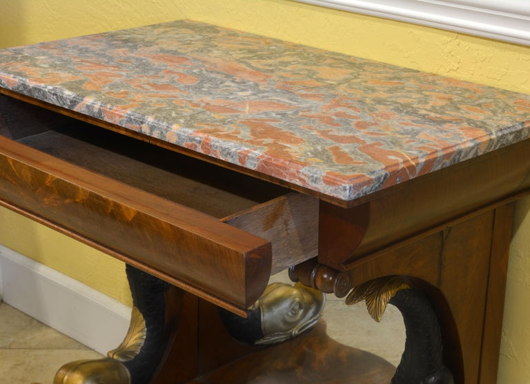 Mid-19th Century English Carved and Parcel Gilt Marble Top Dolphin Console Table For Sale 3
