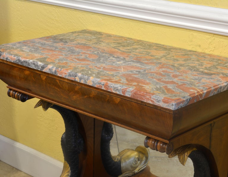 Mid-19th Century English Carved and Parcel Gilt Marble Top Dolphin Console Table For Sale 4