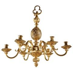 Mid-19th Century 6-Light Chandelier in Mazarin Style