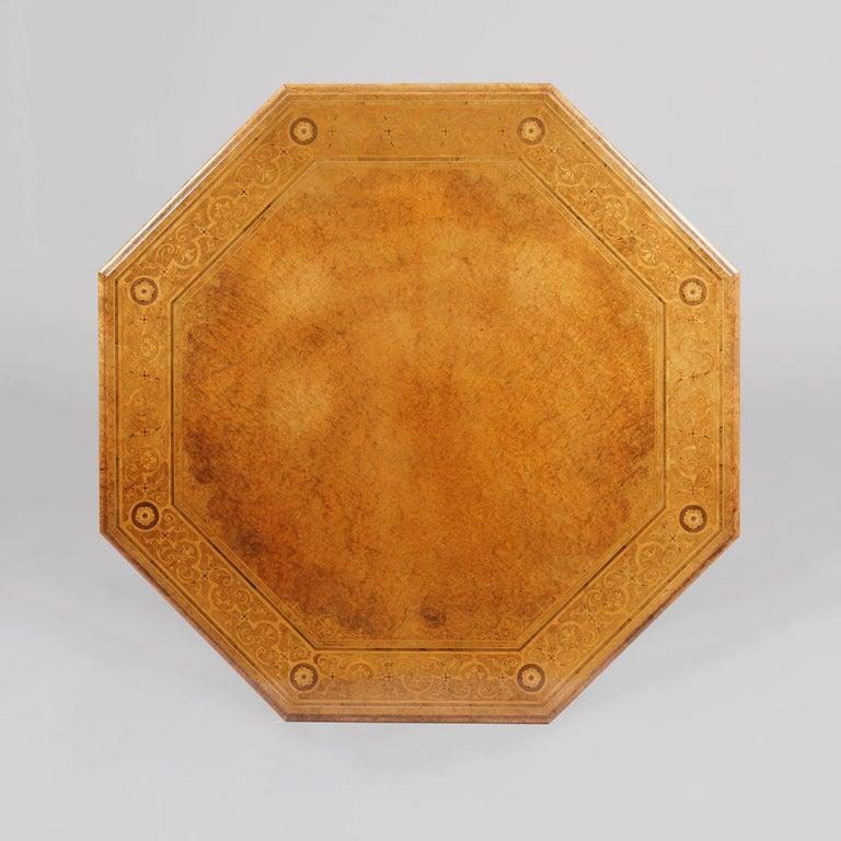 English Mid-19th Century Amboyna Octagonal Centre Table For Sale