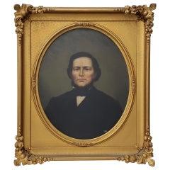 Mid-19th Century American Male Oil Portrait