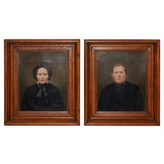 Mid-19th Century Amish Oil Portraits, circa 1850s