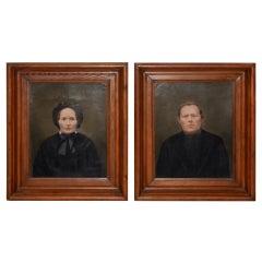 Mid-19th Century Amish Oil Portraits, circa 1850s