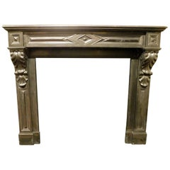 Mid-19th Century Antique Fireplace in Black Marble from Italy