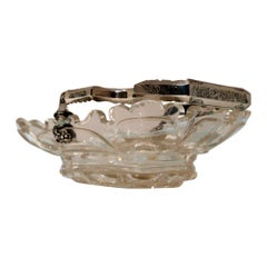 Mid-19th Century Antique Silver & Crystal Cake Basket Holland, 1850
