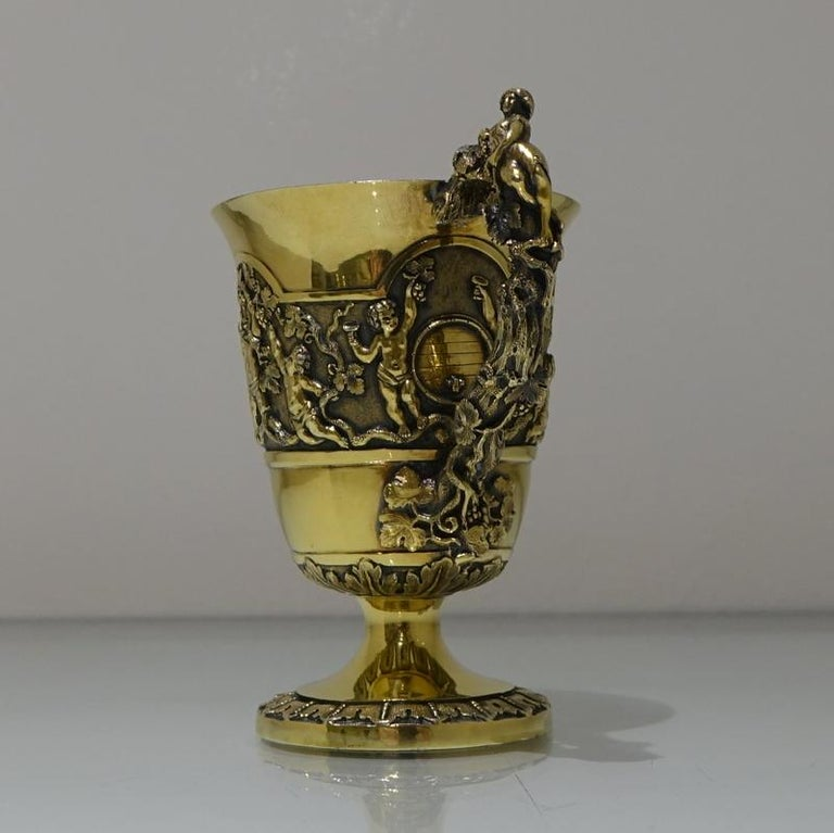 High Victorian Mid-19th Century Antique Victorian Silver Gilt Sterling Silver Christening Mug For Sale