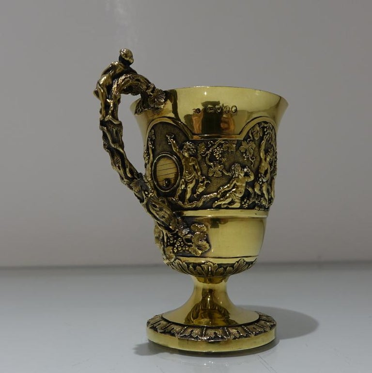British Mid-19th Century Antique Victorian Silver Gilt Sterling Silver Christening Mug For Sale
