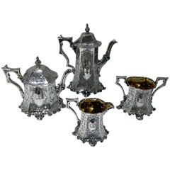 Mid-19th Century Antique Victorian Sterling Silver Four-Piece Tea and Coffee Set